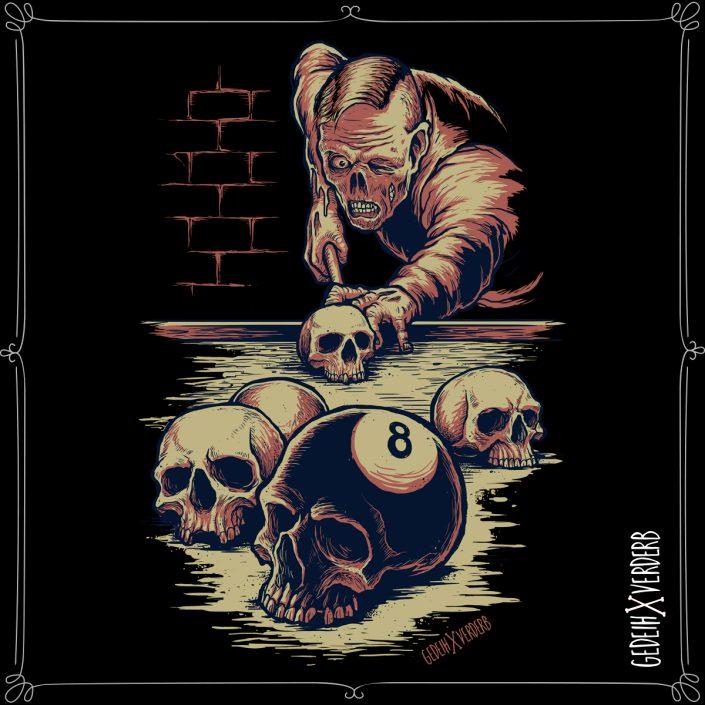 """""""8 Ball Skull"""" Motiv"""